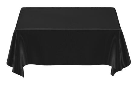 tela seda: Pa�o negro sobre la mesa, aislada Foto de archivo