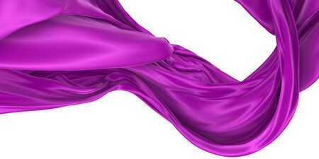 Wavy fabric on a white background. Image is isolated. 3D rendering.