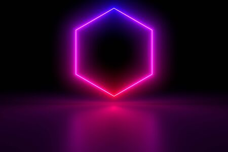 Colored luminous geometric shape on a black background. Blurred reflection on the floor. 3d rendering image.