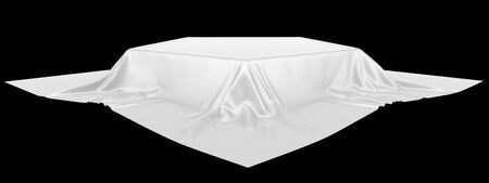 Pedestal or place for a product covered with silk. 3d rendering image, isolated on a black background.