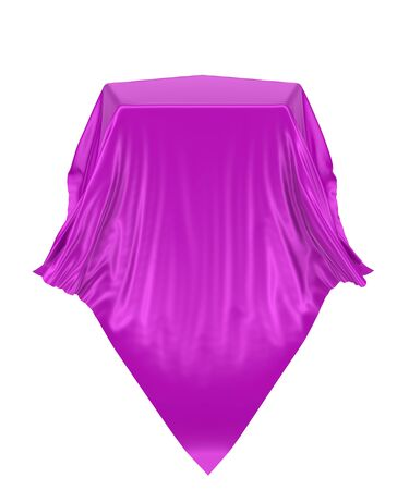 Pedestal or place for a product covered with silk. 3d rendering image, isolated on a white background.