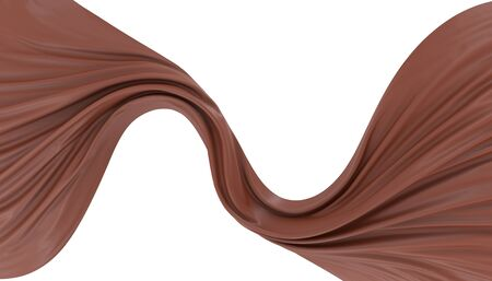 Abstract background of flow chocolate. 3d rendering image. Image isolated on white background. Banco de Imagens