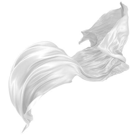 Abstrait de soie ondulée blanche ou de satin. image de rendu 3D. Image isolée sur fond blanc.