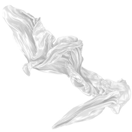 Abstract background of white wavy silk or satin. 3d rendering image. Image isolated on white background.