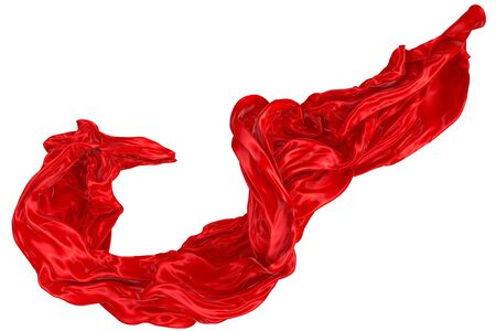 Abstract background of red wavy silk or satin. 3d rendering image. Image isolated on white background.