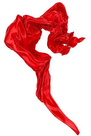 Abstrait de soie ondulée rouge ou de satin. image de rendu 3D. Image isolée sur fond blanc.