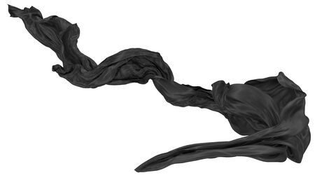 Abstract background of black wavy silk or satin. 3d rendering image. Image isolated on white background. Stock fotó