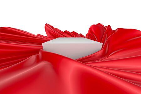 빨간색 물결 모양의 천, 실크 또는 새틴으로 둘러싸인 흰색 정사각형 표면. 3d 렌더링 이미지입니다. 흰색 배경에 고립 된 이미지입니다. 스톡 콘텐츠