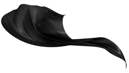 Abstract background of black wavy silk or satin. 3d rendering image. Image isolated on white background. Stockfoto