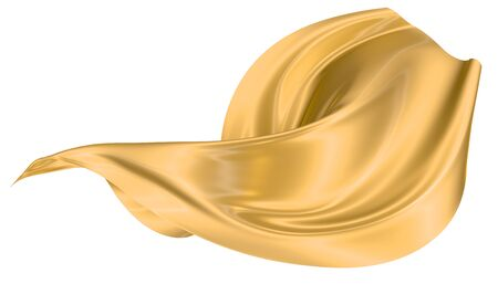 Abstract background of gold wavy silk or satin. 3d rendering image. Image isolated on white background.