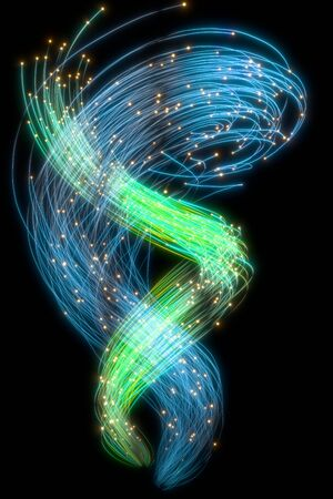 Beautiful abstract flowing traces on a black background. Glowing dots. 3d rendering image . Banque d'images