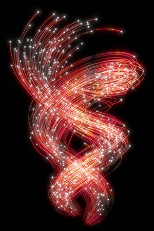 Beautiful abstract flowing traces on a black background. Glowing dots. 3d rendering image .