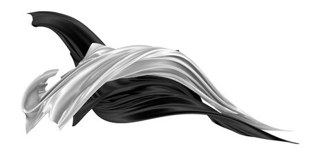 Two flaps of silk or satin fabric developing in the wind. Two-color flowing fabric. 3D rendering image. Image on a white background.