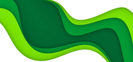 Background with green and white color paper cut shapes. 3D abstract paper art style, design layout for business presentations, flyers, posters, prints, brochure cover, decoration, cards.