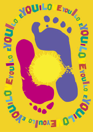 foots: prints of foots - i love you!