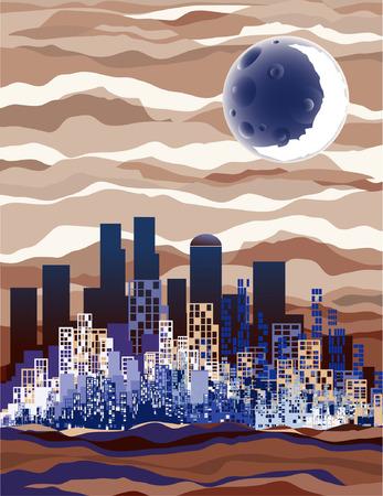 new york street: Lune au-dessus de la ville tous les soirs (couleurs bleus et bruns fonc�s) Illustration