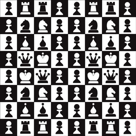 chess game: classic (black-white) chess-board with a chess Illustration