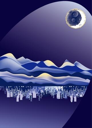 espejismo: ciudad, desierto y Luna sobre un fondo azul