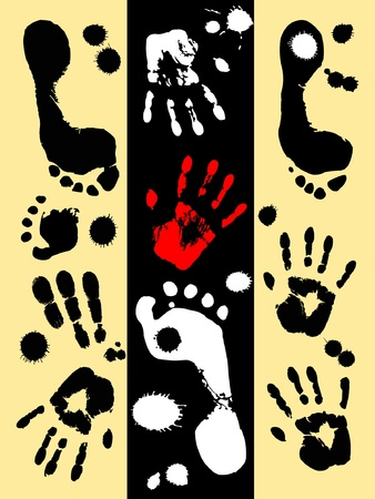 fingermark: handprint and footprint on a yellow and black background