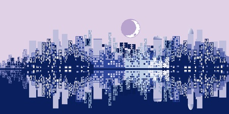 sky scrapers: silhouette of city with a reflection on a lilac and a blue background Illustration