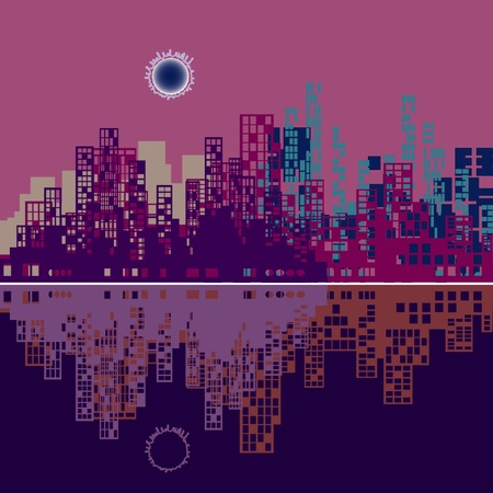 sky scrapers: silhouette of city with a reflection on a violet background