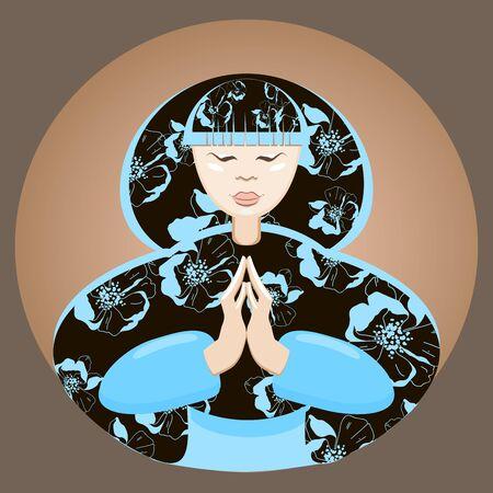 donna giapponese: Bella mani calme donna giapponese piegato in preghiera