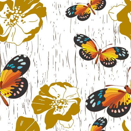 modern garden: Seamless pattern with flowers and butterflies
