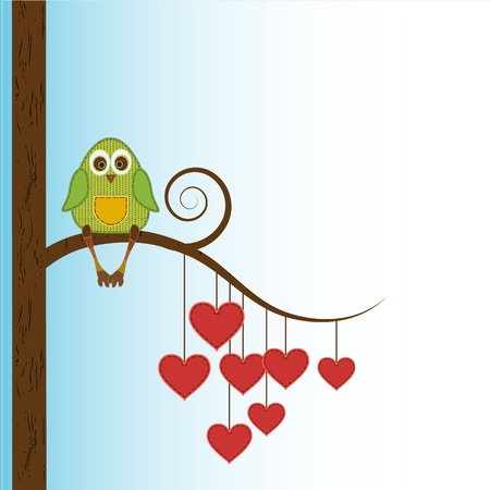 beautiful funny owl sit on heart tree Vector
