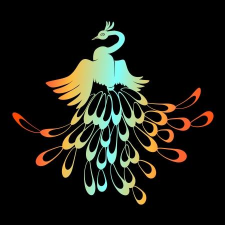 орнитология: Павлин цвета радуги Иллюстрация