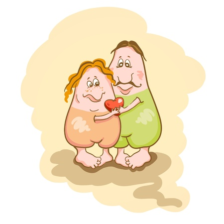 Valentine background with funny couple in love. Vector