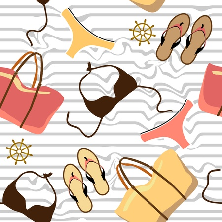 swimsuit,beach bag,beach shoes seamless background Vector