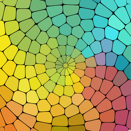 walkway: Color magic pattern of geometric shapes. Colorful mosaic banner, spiral curl background. Illustration