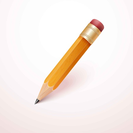 Vector illustration of sharpened detailed pencil isolated on white background Vector