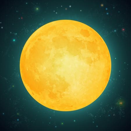 Ilustración de una luna llena sobre un fondo del cielo estrellado