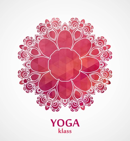 yoga class: Mandala. Flower circle design background with lace ornament
