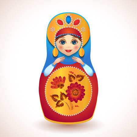 Russian traditional vector doll painted photo