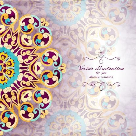 ornamentation: Elegant Indian ornamentation background. Stylish design. Can be used as a greeting card or wedding invitation Illustration