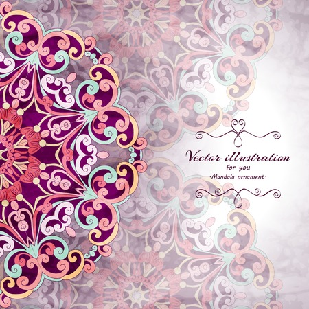 Elegant Indian ornamentation background. Stylish design. Can be used as a greeting card or wedding invitation Illustration