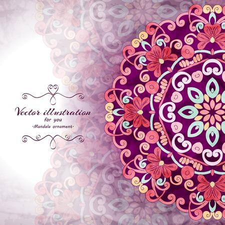 bodas de plata: Elegante fondo de la ornamentaci�n de la India. Dise�o elegante. Se puede utilizar como una tarjeta de felicitaci�n o invitaci�n de la boda Vectores