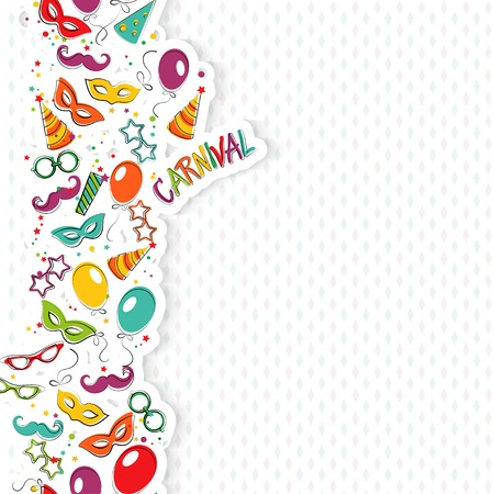 Festive page with carnival icons and objects. Vector party poster template