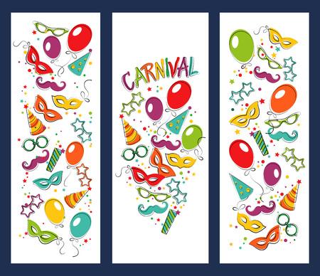 estrella caricatura: Página festivo con iconos y objetos de carnaval. Vector plantilla de cartel del partido