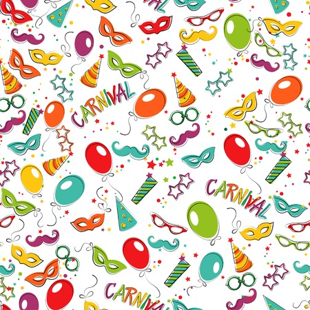 Festive page with carnival icons and objects.Seamless patern. Vector party poster template Ilustração