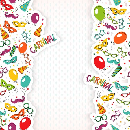 carnival: Festive page with carnival icons and objects. Vector party poster template