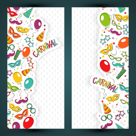 Festive page with carnival icons and objects. Vector party poster template Vector