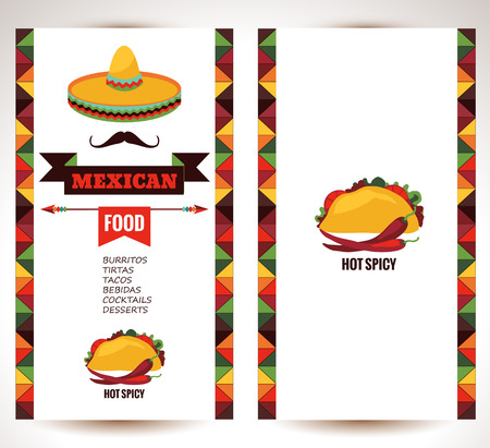mexican sombrero: Vector design template for Mexican restaurant.