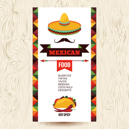 food illustration: Vector design template for Mexican restaurant.