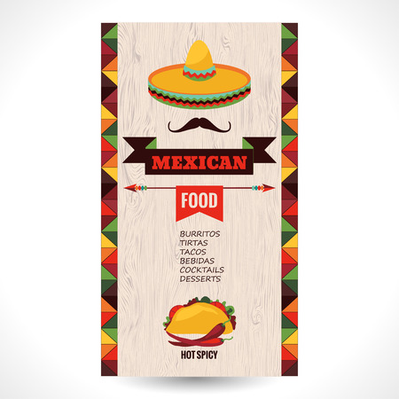 sombrero de charro: Vector plantilla de dise�o para el restaurante mexicano.