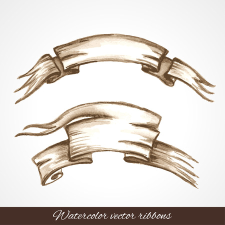 Hand drawn isolated objects for  design. Ribbons Vector
