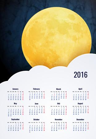 moon: 2016 calendar vertical - week starts with sunday Illustration