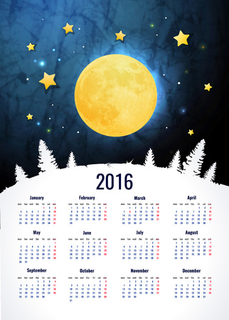 2016 calendar vertical - week starts with sunday Vectores